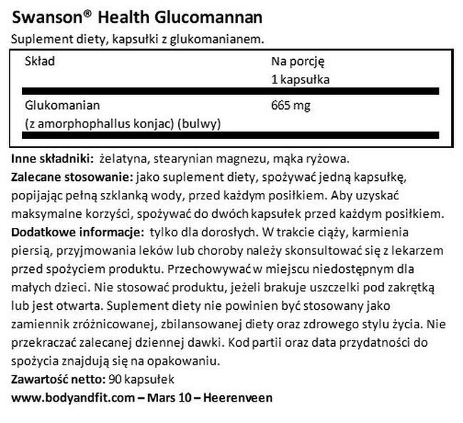 Glukomanian Nutritional Information 1