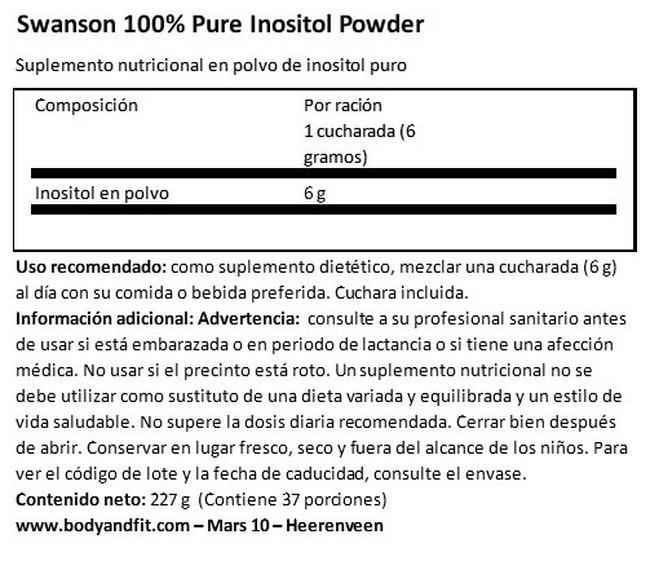 100 % Inositol Puro en Polvo Nutritional Information 1