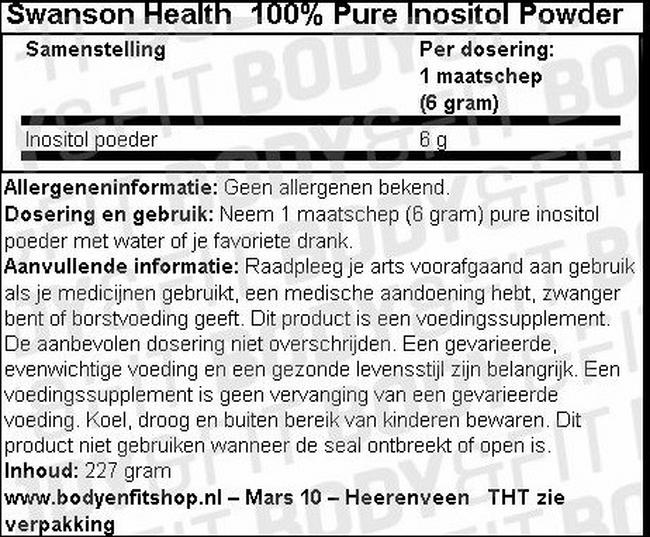 100% Pure Inositol Powder Nutritional Information 1