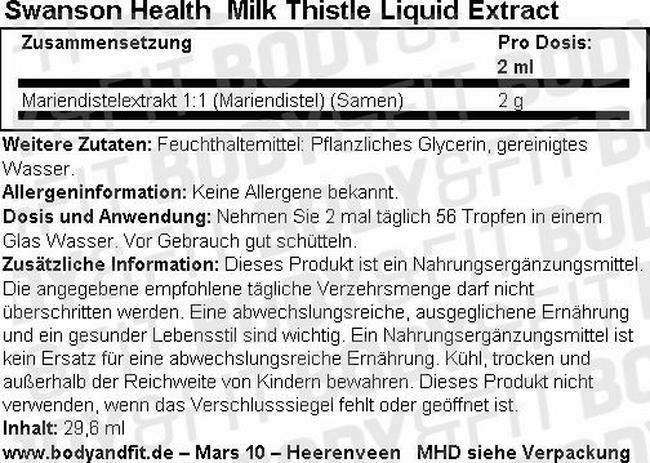 Mariendistel Liquid Extract Nutritional Information 1