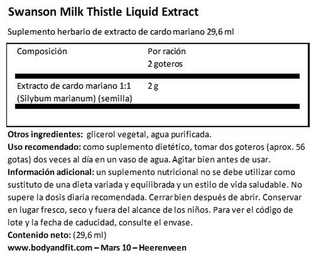 Milk Thistle Liquid Extract Nutritional Information 1