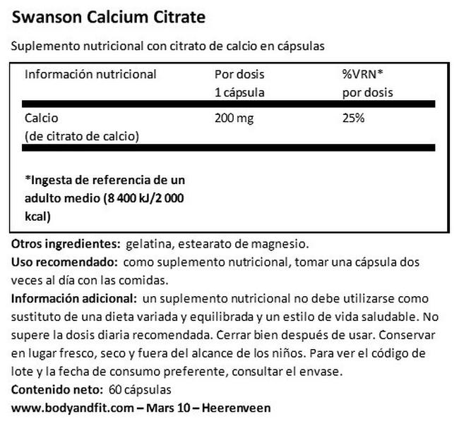 Calcium Citrate 200 mg Nutritional Information 1