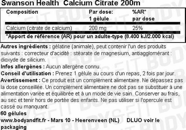 Calcium Citrate 200mg Nutritional Information 1