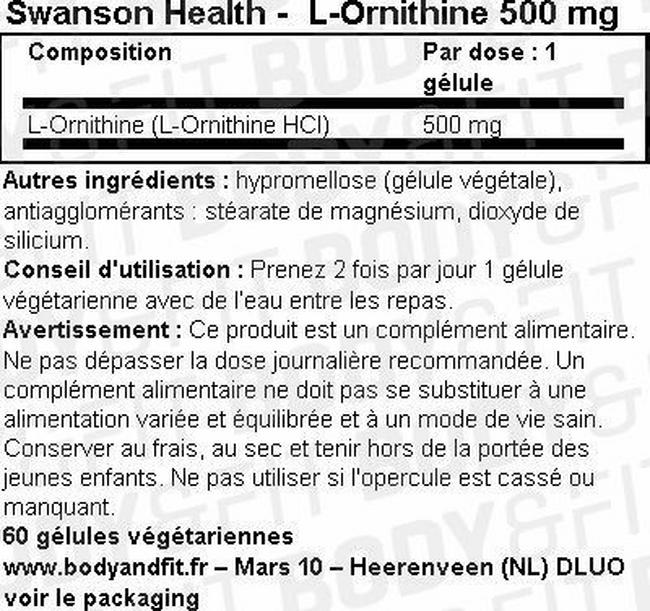 L-Ornithine 500mg Nutritional Information 1