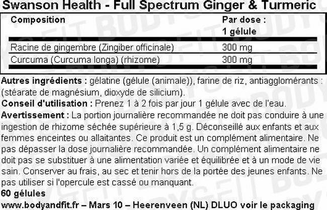Full Spectrum Gingembre & Curcuma Nutritional Information 1