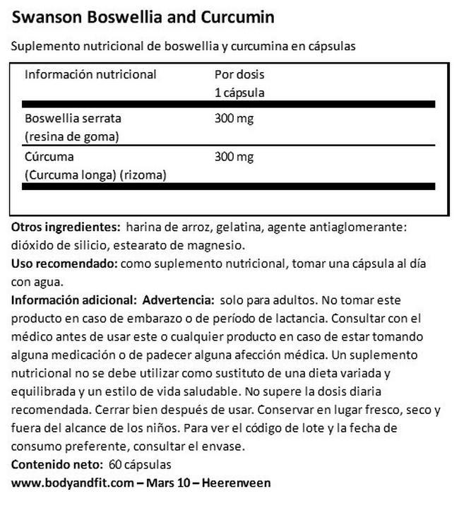 Full Spectrum Boswellia & Curcumin Nutritional Information 1