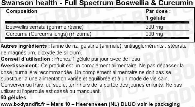 Full Spectrum Boswellia & Curcumin Nutritional Information 1