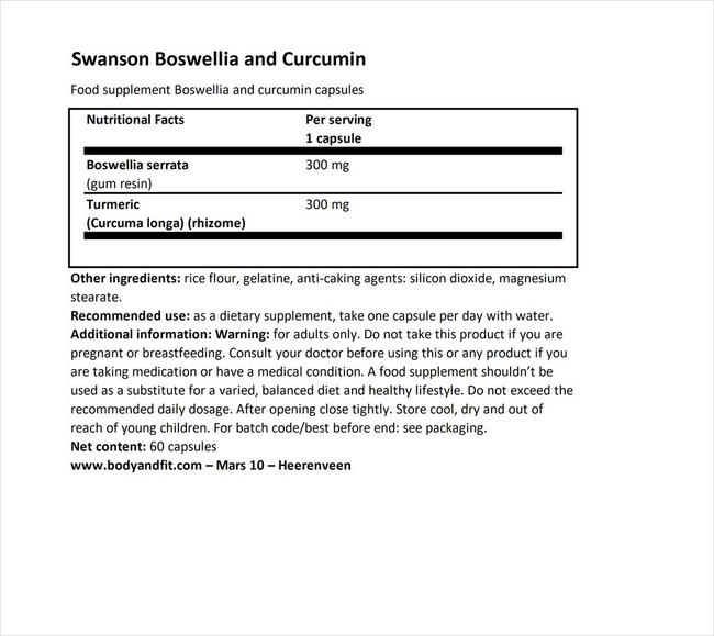 フルスペクトラム ボスウェリア&クルクミン Nutritional Information 1