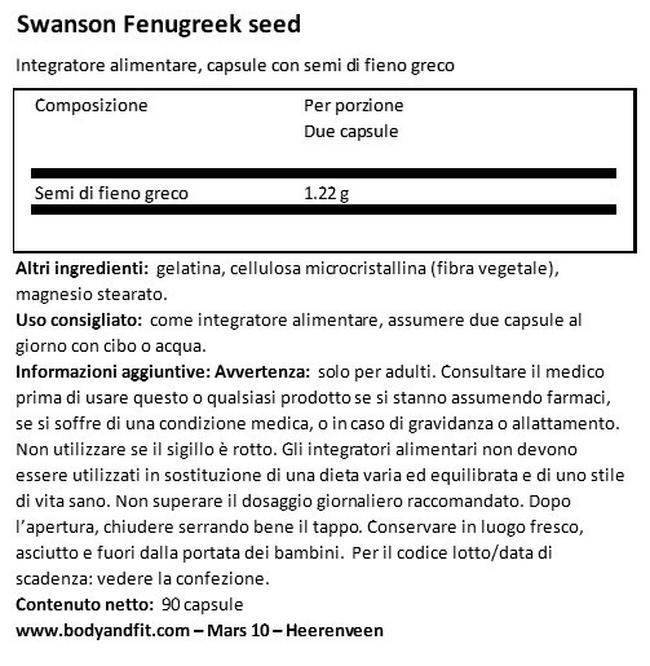 Semi di Fieno Greco 610 mg Nutritional Information 1