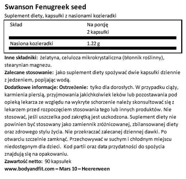 Nasiona kozieradki 610 mg Nutritional Information 1