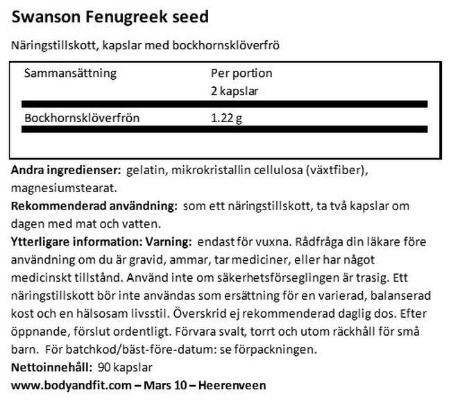 Fenugreek Seed 610mg Nutritional Information 1