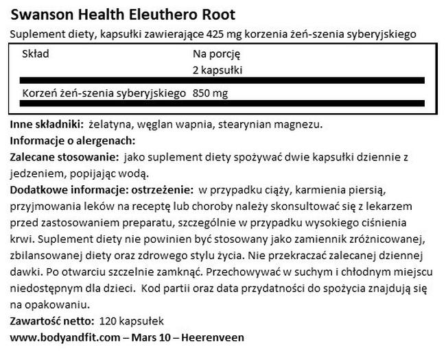 Eleuthero Root 425 mg Nutritional Information 1
