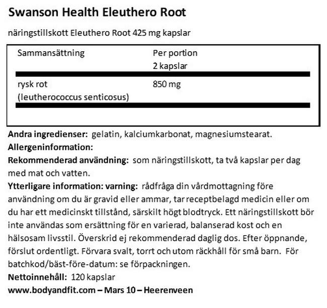 Eleuthero Root 425mg Nutritional Information 1