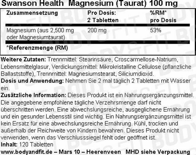 Magnesium (Taurate) 100 mg Nutritional Information 1