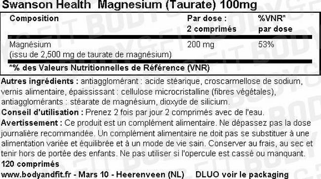 Magnesium (Taurate) 100mg Nutritional Information 1
