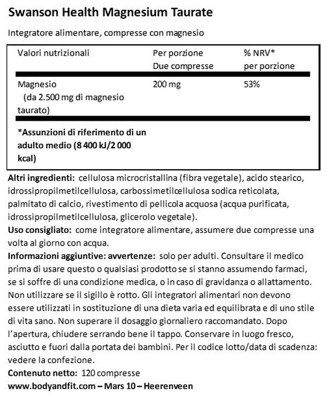 Taurato di Magnesio 100 mg Nutritional Information 1