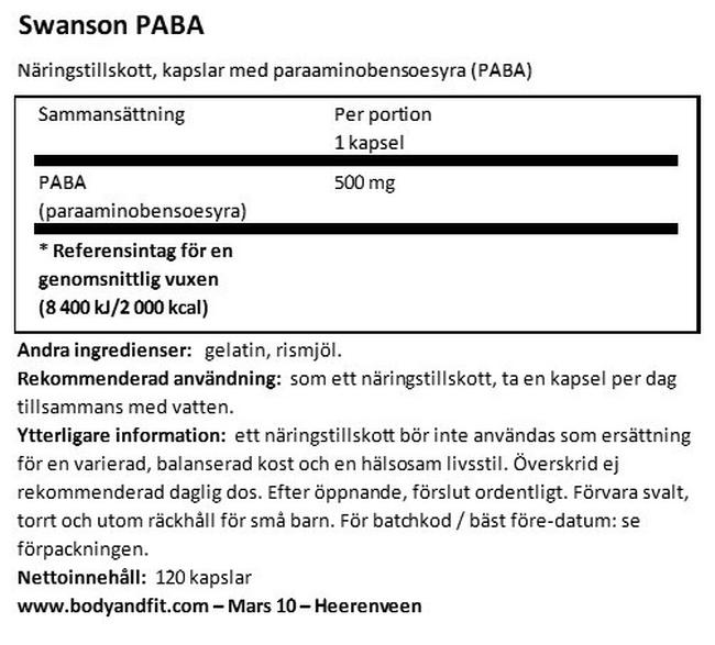 PABA 500 mg Nutritional Information 1