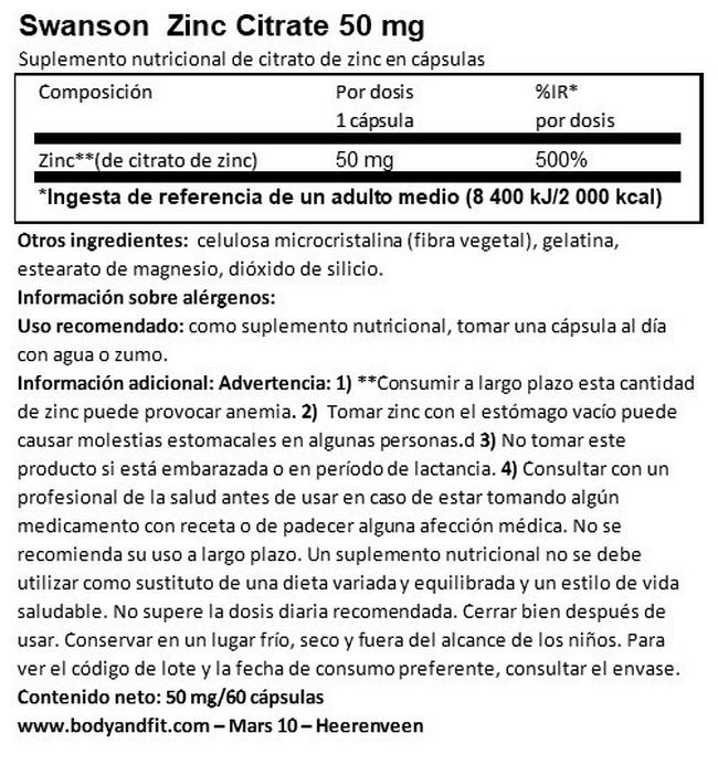 Zinc Citrate (50 mg Elemental) Nutritional Information 1