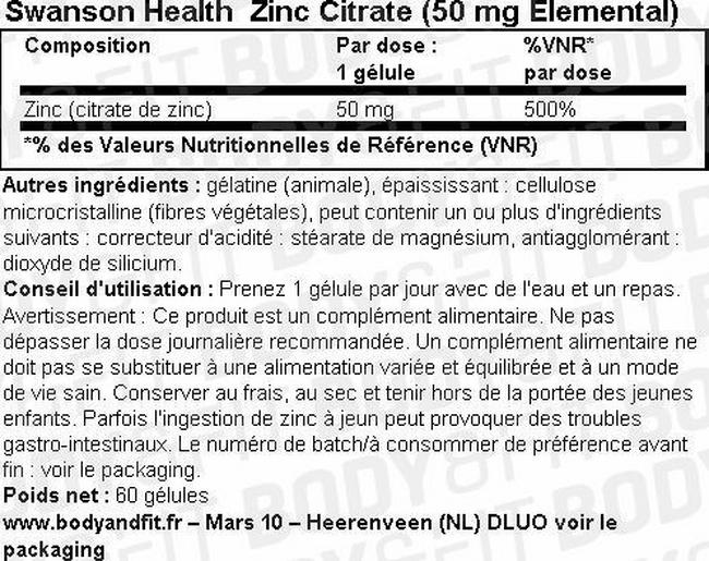 Gélules Zinc Citrate (50mg Elemental) Nutritional Information 1