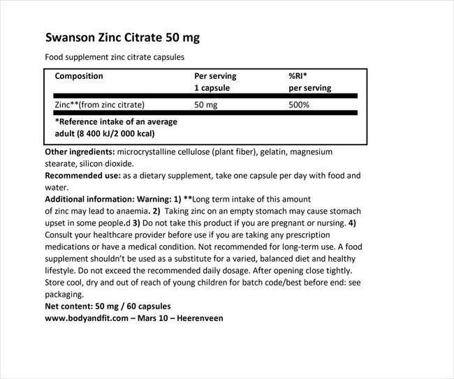 ジンクシトレイト(50mg エレメンタル) Nutritional Information 1