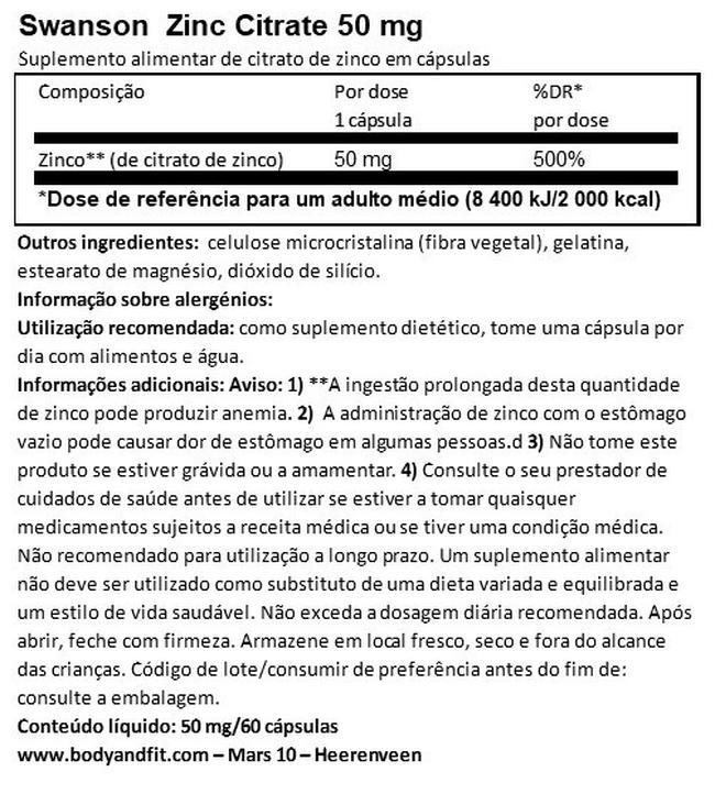 Zinc Citrate (50mg Elemental) Nutritional Information 1