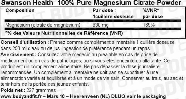 100% Citrate de Magnésium pure en poudre Nutritional Information 1
