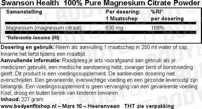 100% Pure Magnesium Citrate Powder Nutritional Information 1