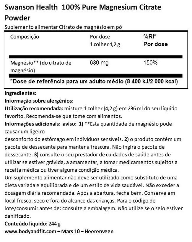 100% citrato de magnésio puro em pó Nutritional Information 1