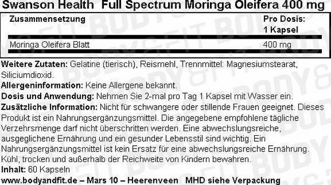 Full Spectrum Moringa Oleifera 400mg Nutritional Information 2