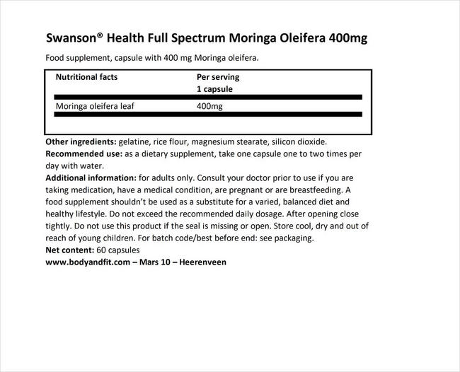 Full Spectrum Moringa Oleifera 400mg Nutritional Information 1