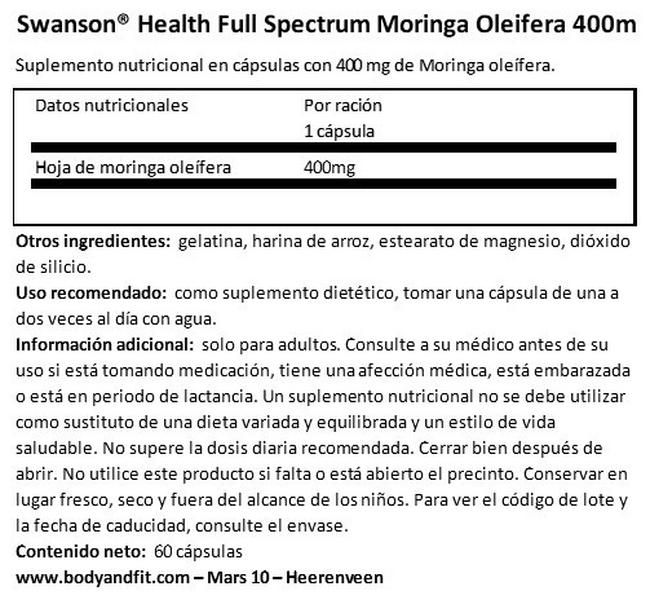 Full Spectrum Moringa Oleifera 400 mg Nutritional Information 1