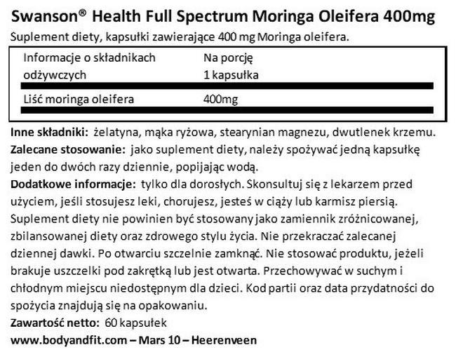 Full Spectrum Moringa Oleifera 400 mg Nutritional Information 1
