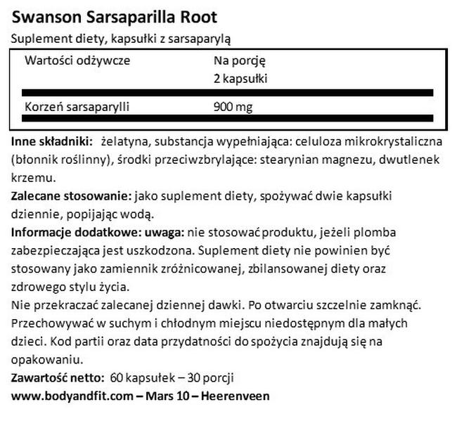 Sarsaparilla 450 mg Nutritional Information 1