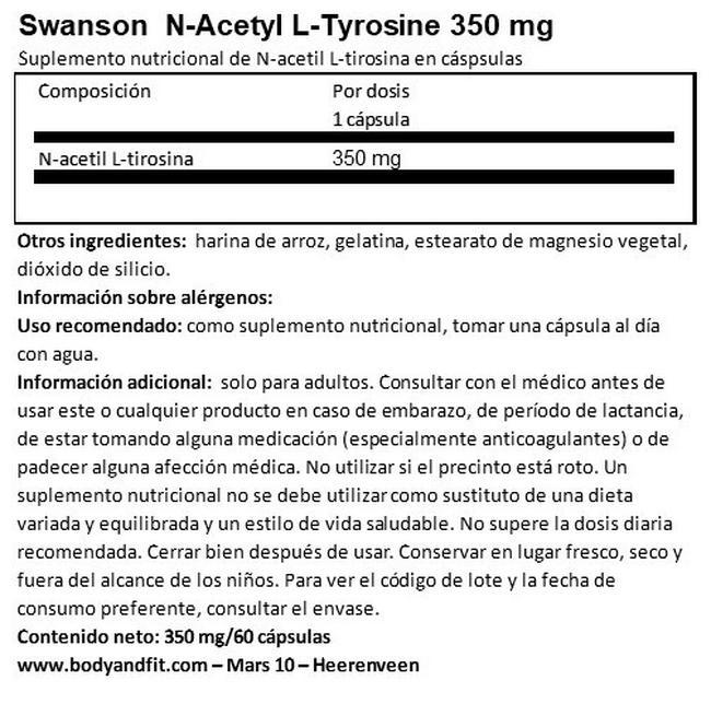 N-Acetyl L-Tyrosine 350 mg Nutritional Information 1