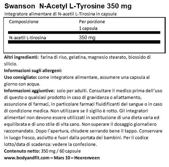 N-Acetyl L-Tyrosine 350mg Nutritional Information 1