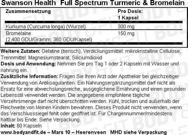 Full Spectrum Turmeric & Bromelain Nutritional Information 1