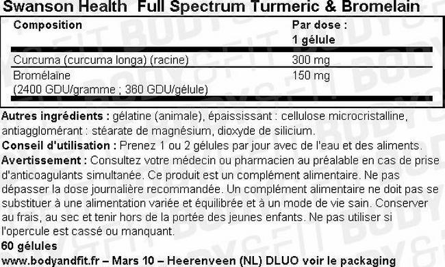 Full Spectrum Curcuma & Bromélaïne Nutritional Information 1