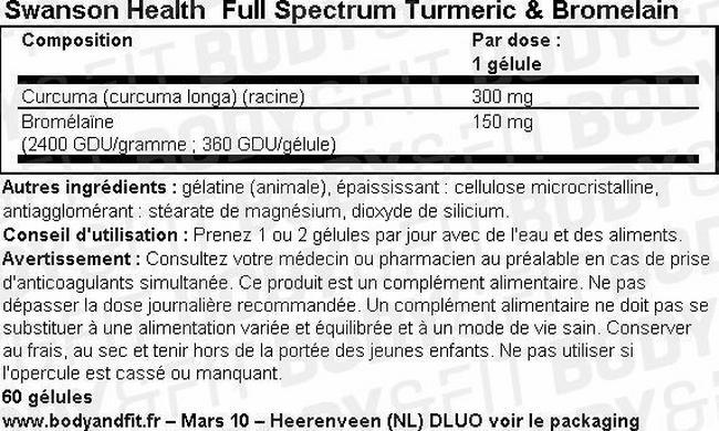 Full Spectrum Curcuma & Bromélaïne Nutritional Information 1