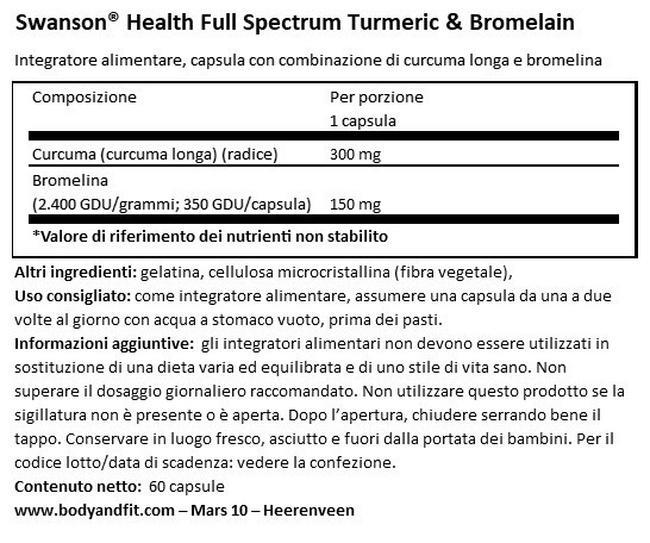 Full spectrum Curcuma e Bromelina Nutritional Information 1
