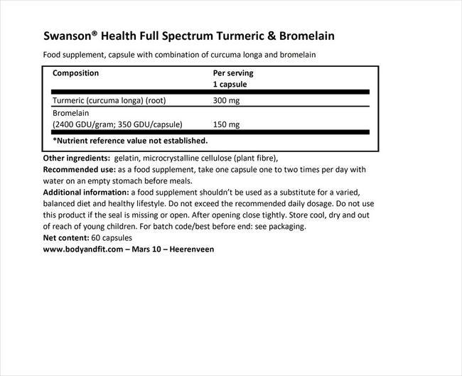 フルスペクトラム ターメリック&ブロメライン Nutritional Information 1