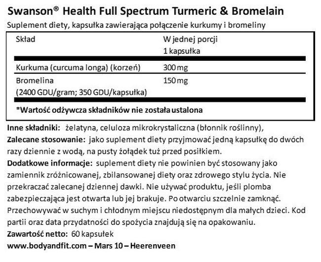 Full Spectrum Turmeric & Bromelain Nutritional Information 1