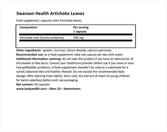 Artichoke Leaves 500mg Nutritional Information 1