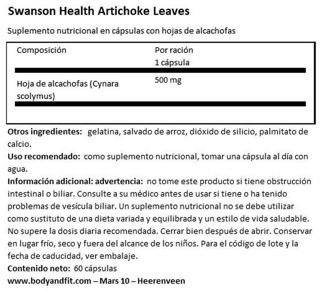 Artichoke Leaves 500 mg Nutritional Information 1
