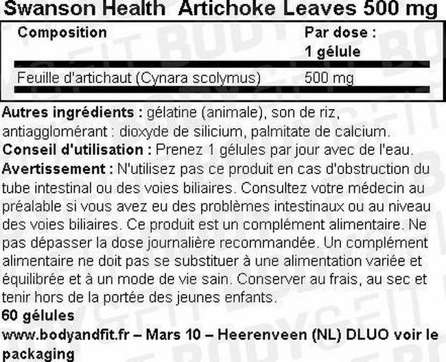 Feuilles d'artichaut 500mg Nutritional Information 1