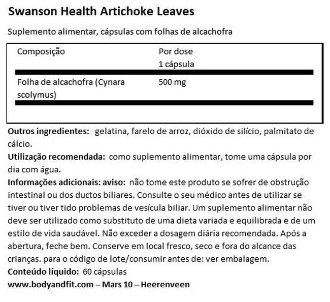 Artichoke Leaves 500 mg Nutritional Information 1