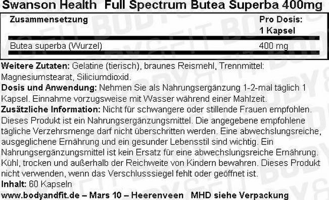 Full Spectrum Butea Superba 400 mg Nutritional Information 1