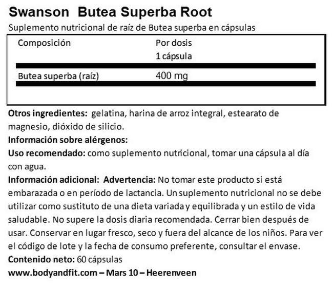 Full Spectrum Butea Superba 400 mg Nutritional Information 1