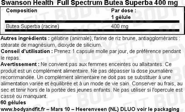 Full Spectrum Butea Superba 400mg Nutritional Information 1