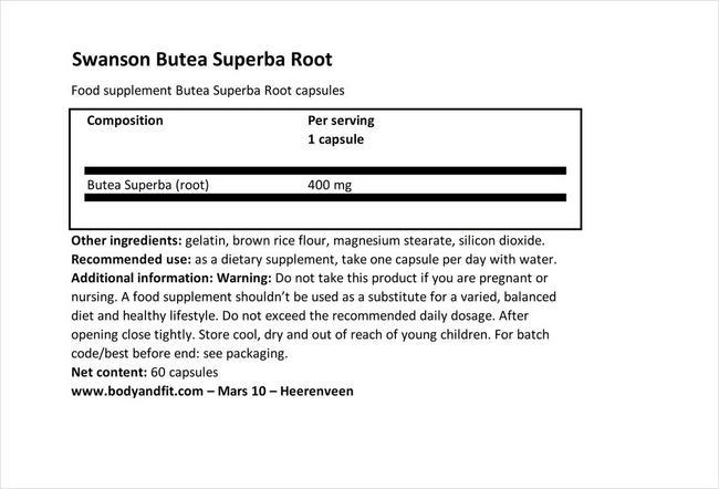 フルスペクトラムブテアスーパーバ400mg Nutritional Information 1