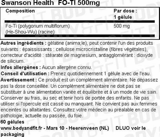 Complément alimentaire Fo-ti 500mg Nutritional Information 1